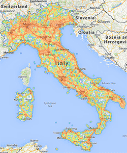 3G/4G coverage map of Italy