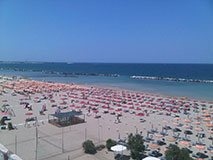 Beach in Viserba, Rimini, Italy