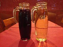 Homemade wine in pitcher, Italian food